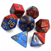 Blue & Red Gemini Polyhedral 7 Dice Set